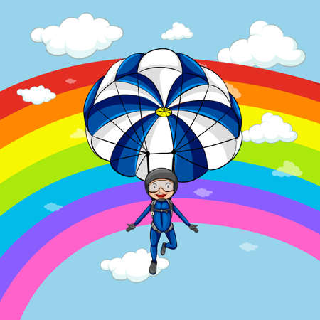 Man parachuting in the sky with rainbow background illustration