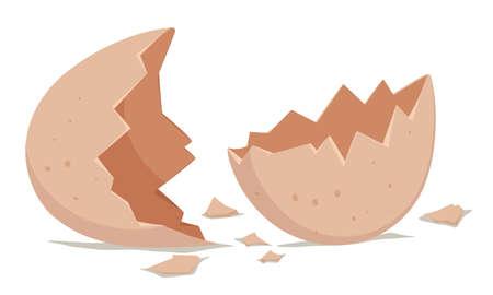 an egg shell: Broken egg shell on the floor illustration