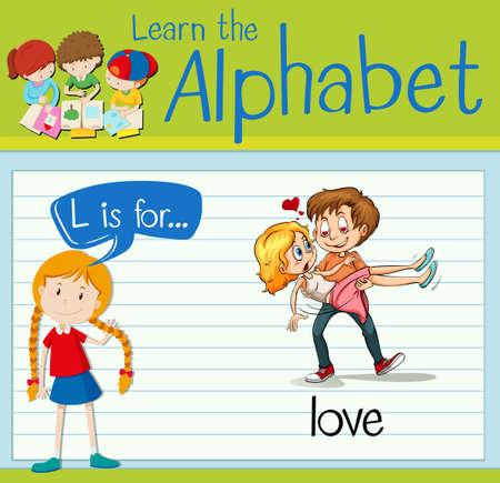 l boy: Flashcard letter L is for love illustration Illustration