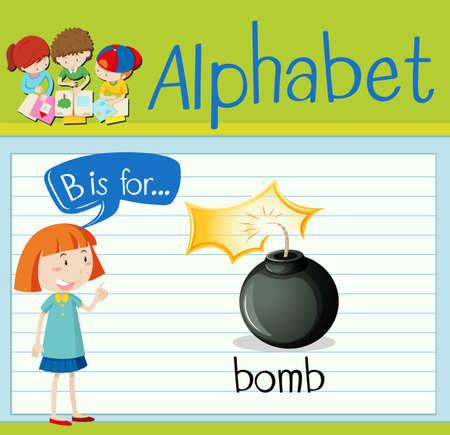 exploded: Flashcard letter B is for bomb illustration Illustration