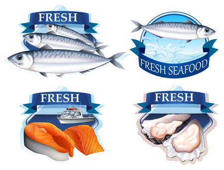 multiple: Label design with word and seafood illustration