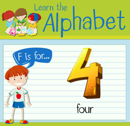 countable: Flashcard letter F is for four illustration