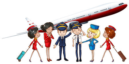 flight: Airline crews and jet plane illustration