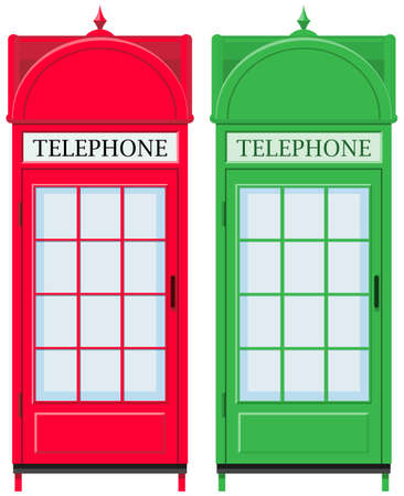 vintage telephone: Two vintage telephone booths illustration Illustration