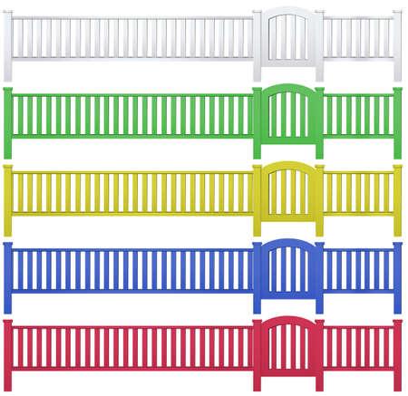 multiple: Fence and garden gate in five colors illustration Illustration