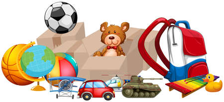 Different types of toys in one pile illustration Illustration