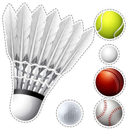 Different types of balls  illustration