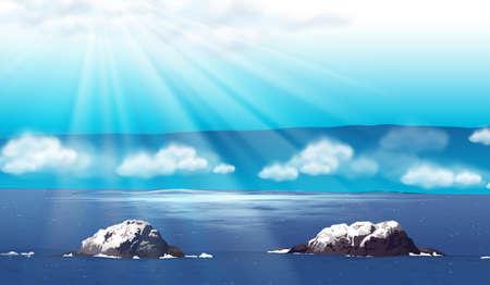 daytime: Nature scene with ocean at daytime illustration