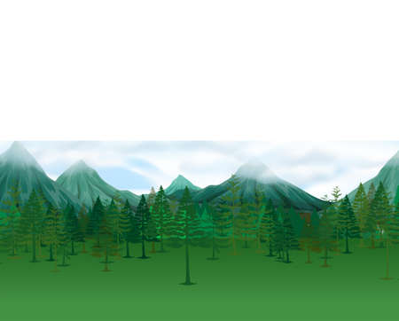 pine trees: Nature scene with pine trees and mountains illustration
