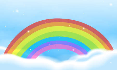 Sky scene with bright rainbow illustration Illustration