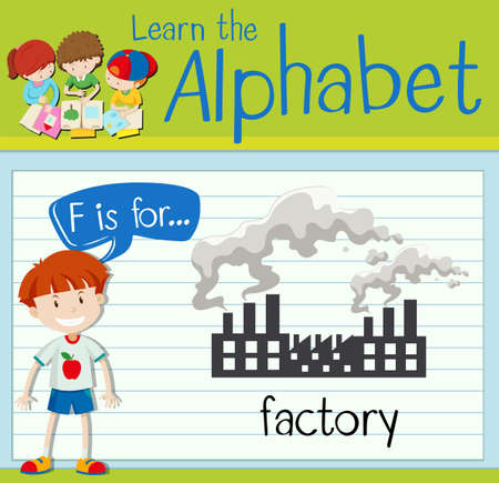 polution: Flashcard letter F is for factory illustration