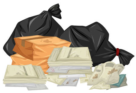 pile: Pile of used papers and bags illustration