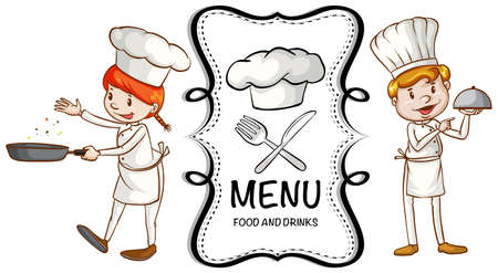 Two chef cooking and menu templated illustration Illustration