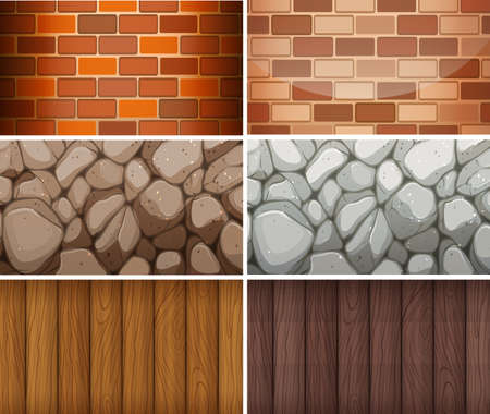 rock layer: Background pattern with bricks and woods illustration Illustration