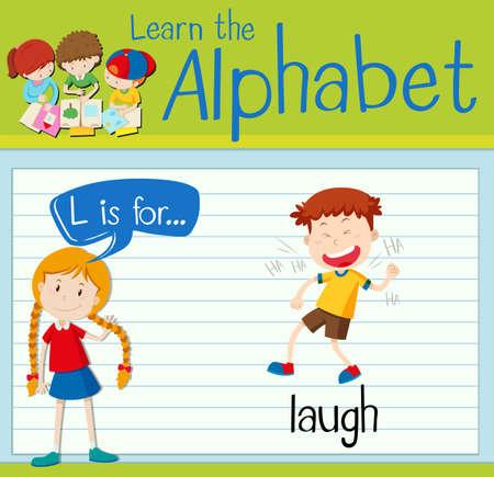 l boy: Flashcard letter L is for laugh illustration