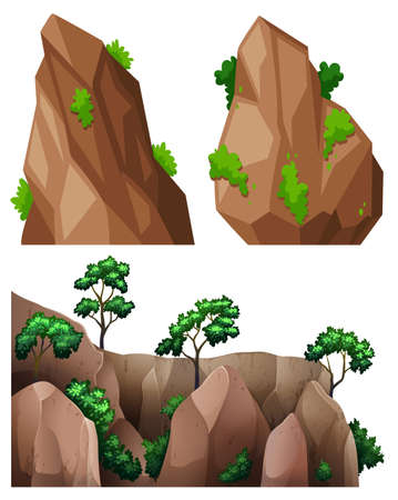 trees illustration: Different shapes of rock and trees illustration