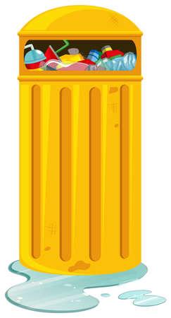 rubbish bin: Rubbish bin with lots of rubbish illustration