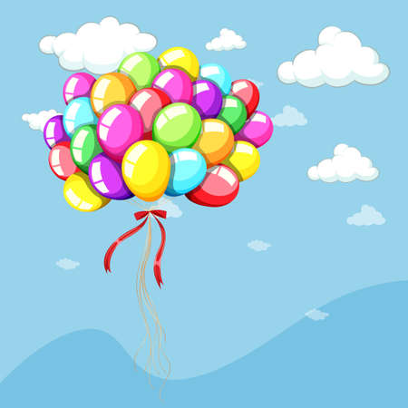 Background template with balloons in blue sky illustration