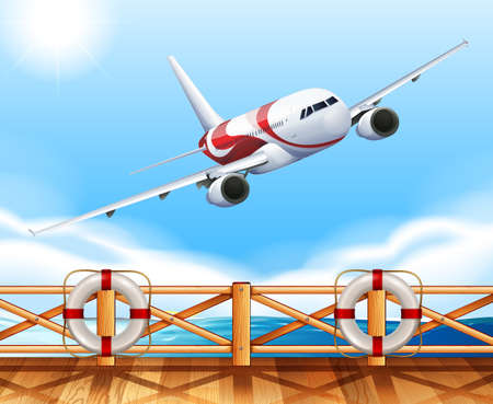 engine: Scene with airplane flying over the bridge illustration Illustration