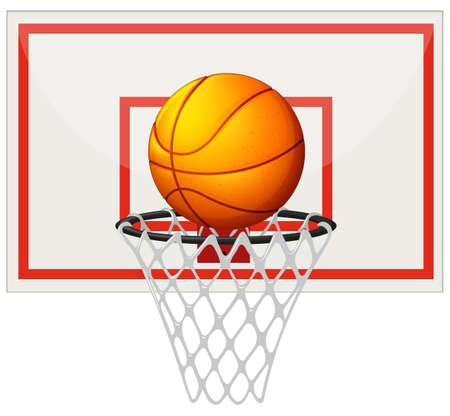 Baloncesto con tablero de baloncesto de red ilustración