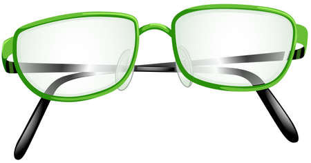 sight: Eyeglasses with green frame illustration