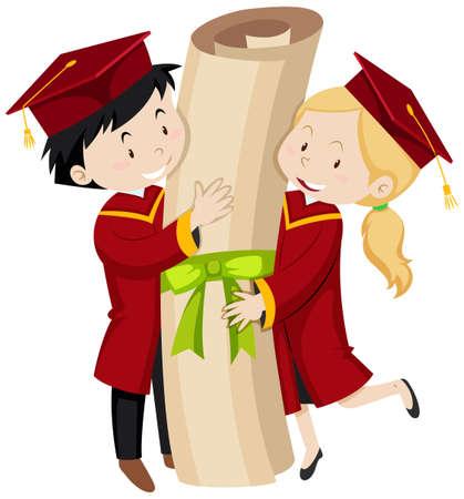 Two graduated students holding giant degree illustration Illustration