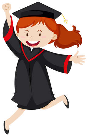 happy woman: Happy woman in graduation gown illustration