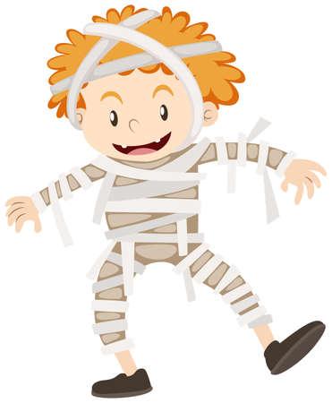 Boy dressed up as mummy illustration