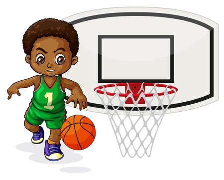 healthy kid: Basketball player bouncing the ball  illustration Illustration