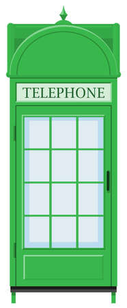 telephone booth: Classic design of telephone booth in green color illustration
