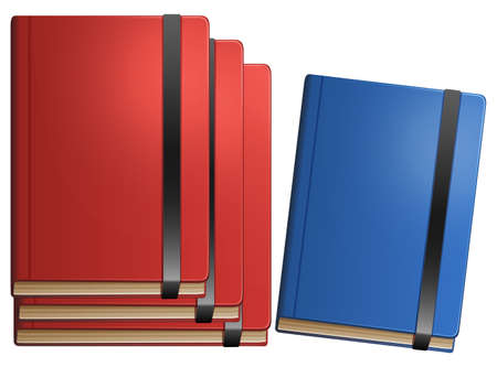 blue book: Red books and blue book on white background illustration