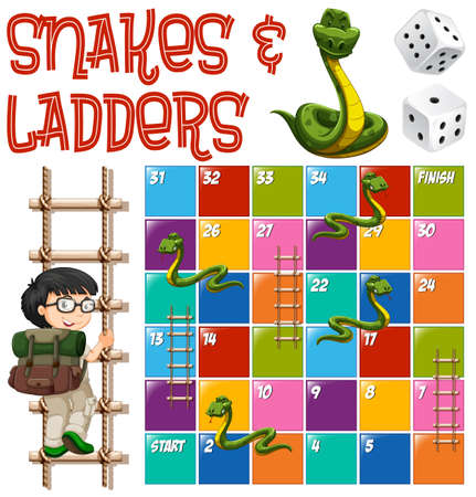 snakes and ladders: Boardgame template with ladders and snakes illustration