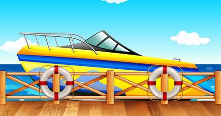 Speed boat park by the pier illustration Illustration