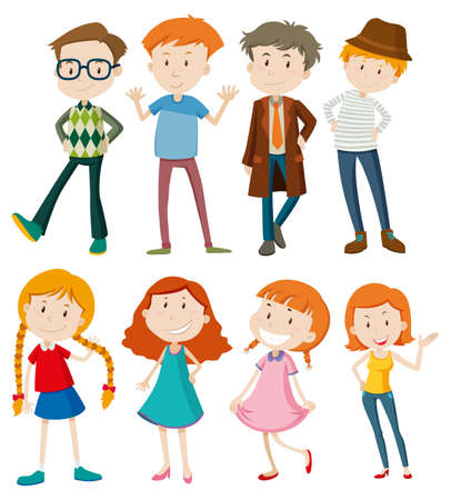 multiple: People with happy faces illustration