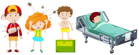 sick bed: Children being sick from different disease illustration