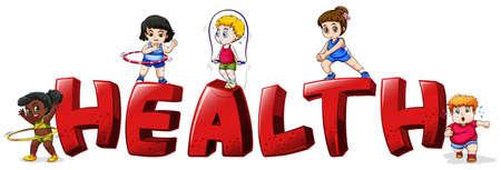 child drawing: Font design for word health illustration