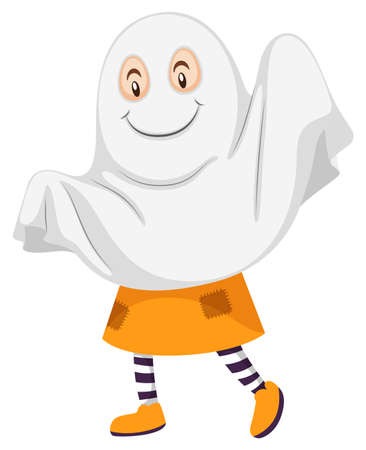 kid illustration: Little kid in ghost costume illustration