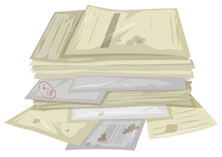 heap: Pile of used papers on the floor illustration Illustration