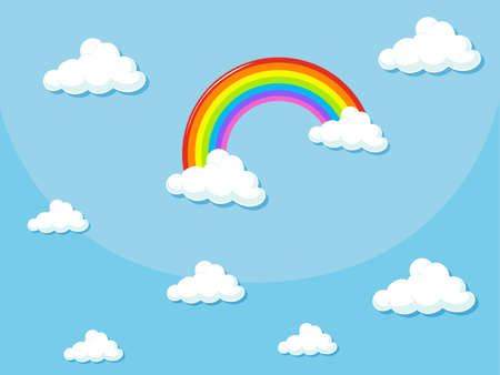 clouds: Background design with rainbow in the sky illustration