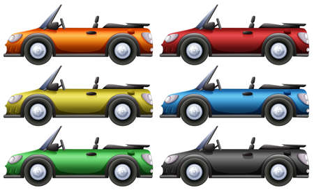 Convertible cars in six colors illustration