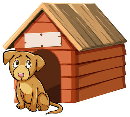 Sad looking dog in front of doghouse illustration