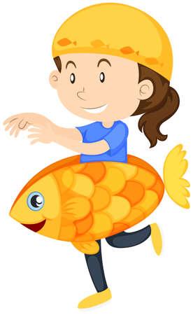 Kid in goldfish costume illustration