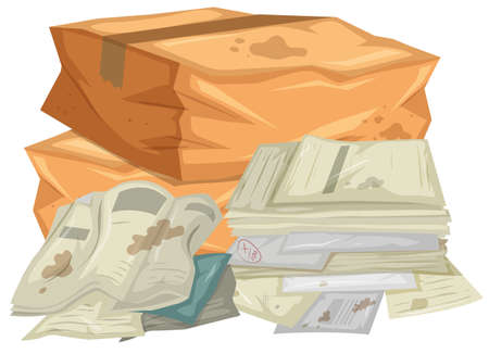 Pile of used papers and bags illustration