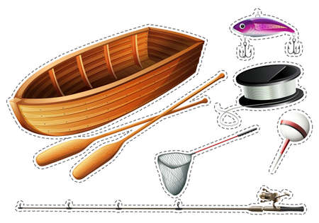 Fishing boat and other fishing equipments illustration