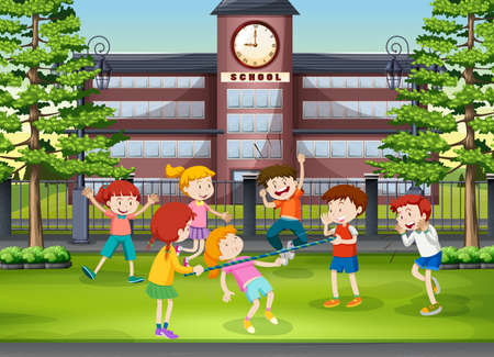 Many kids playing in the school ground illustration