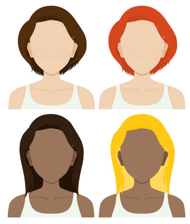 long hair model: Faceless female characters with long and short hair illustration