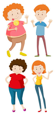 Four people in different sizes illustration