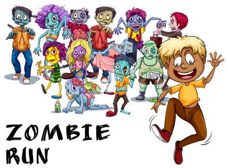 Many zombies chasing human illustration Векторная Иллюстрация