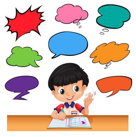 niños platicando: Little boy with different speech bubbles illustration Vectores