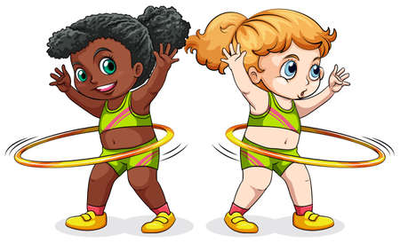 hulahoop: Two girls exercising with hulahoops illustration Illustration